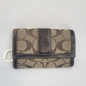 Coach Signature Accordian Style Wallet Brown